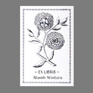 Antique Woodcut Peony Bookplate