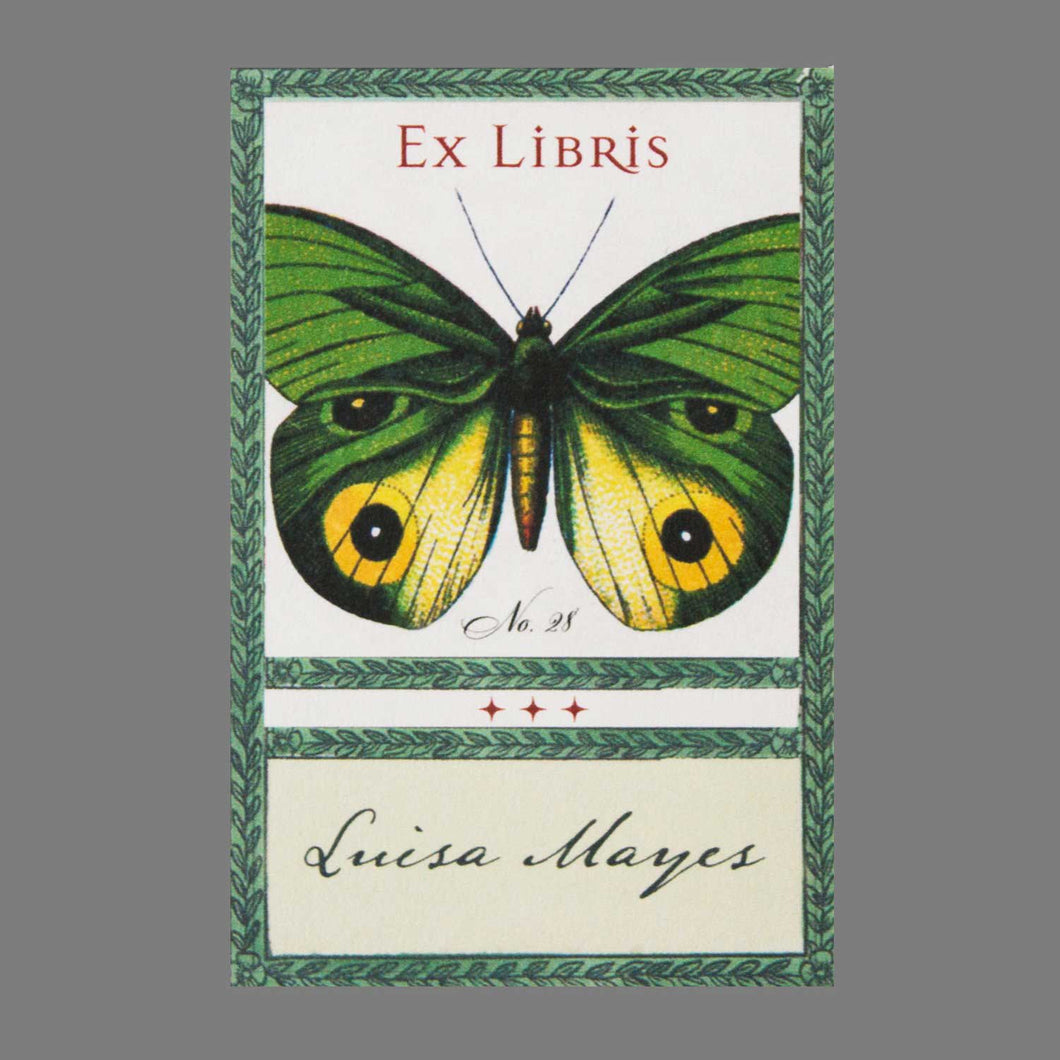 Mysterious Green Butterfly Bookplate