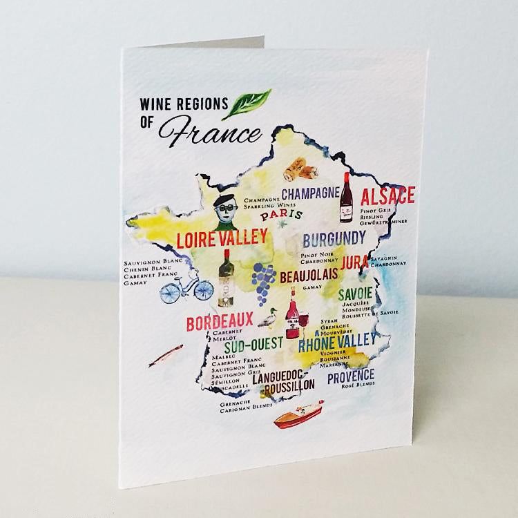 French Wine Map Card
