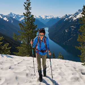 founder Melanie Ang climbing a mountain with Chilliwack lake in the background