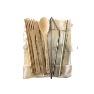 Custom bamboo cutlery kit + linen case
