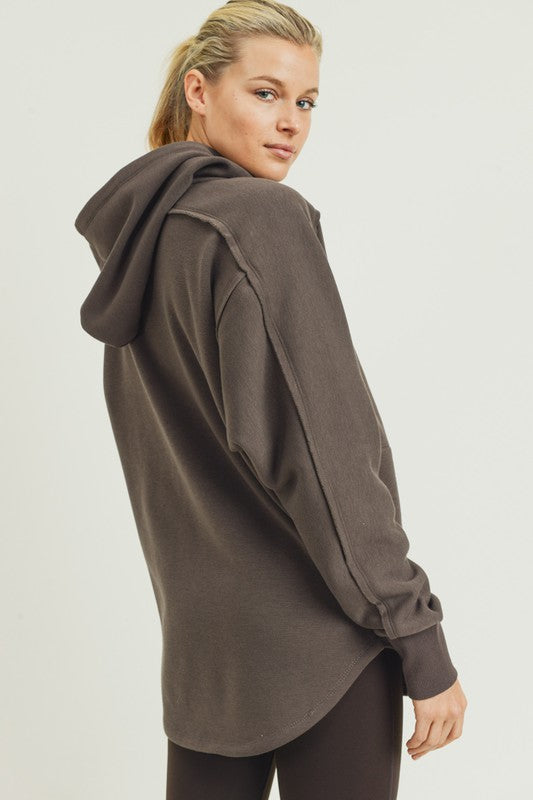 Mia Longline Zip-Up Hoodie Jacket