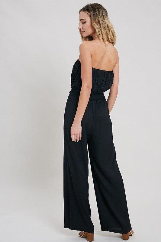 Smock Waist Jumpsuit With PomPom Tie