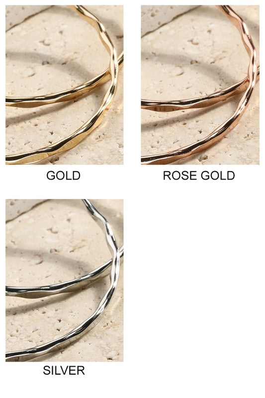 Wave Textured Metal Hoop Earrings in Gold, Rose Gold or Silver