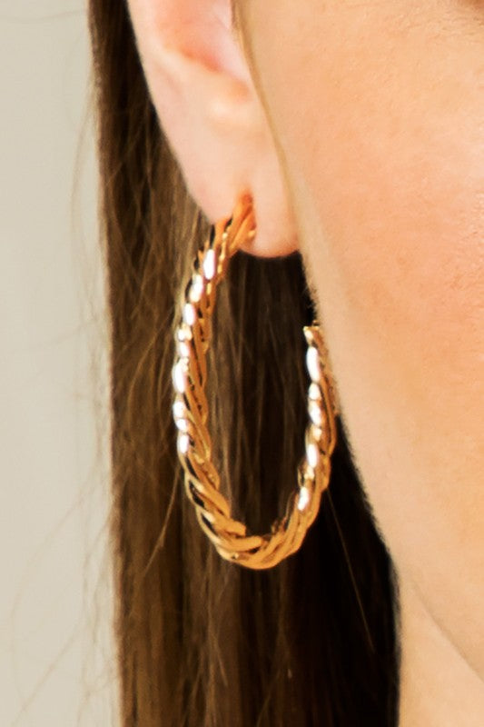 Textured and Twisted Oval Hoop in Rose Gold