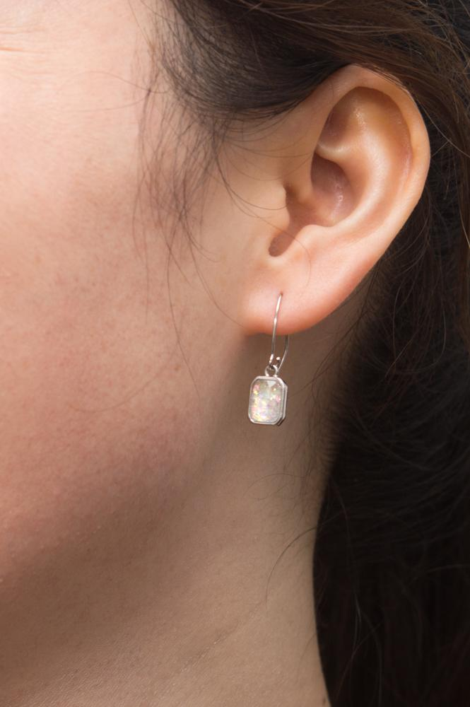 Alexa White & Silver Earrings