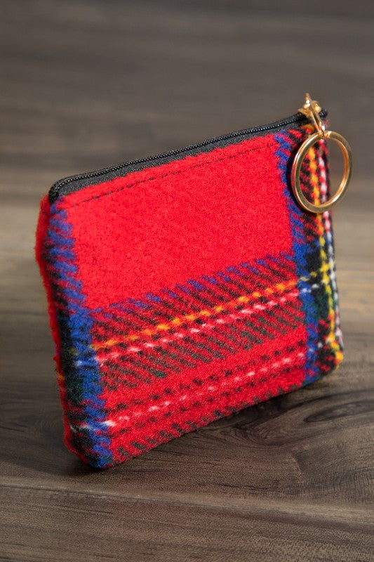 Coin And Card Pouch With Key Ring In Various Color Options
