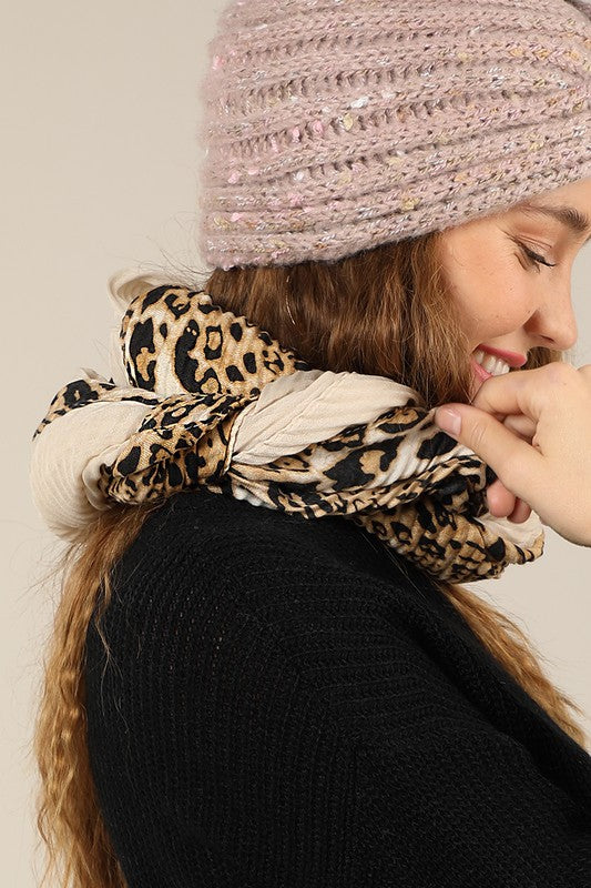 Pleated Animal Print Oblong Scarf