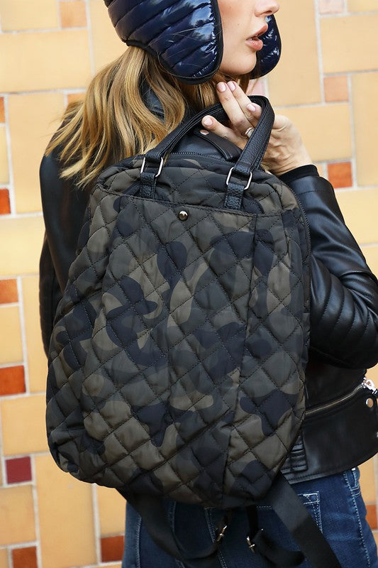 Camo Puffer Backpack in Faux Leather