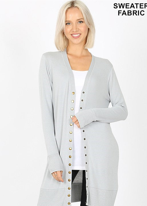 Snap Button Cardigan With Ribbed Detail in Light Grey