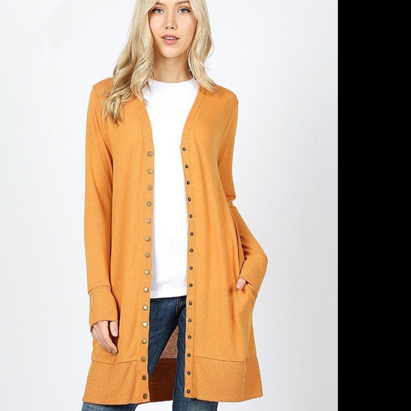 Snap Button Cardigan With Ribbed Detail in Ash Mustard