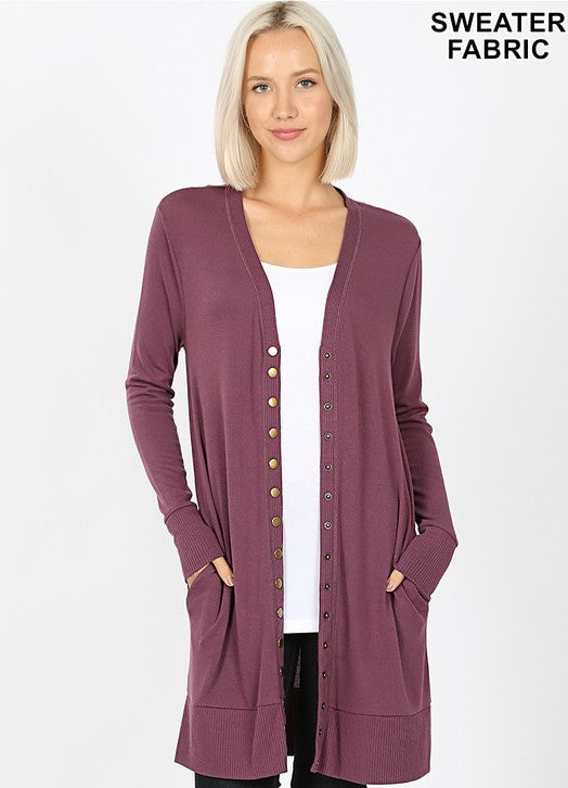 Snap Button Cardigan With Ribbed Detail in Eggplant