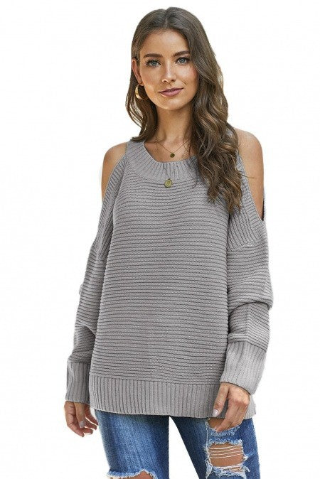 Cold Shoulder Pullover Sweater in Beige or Grey
