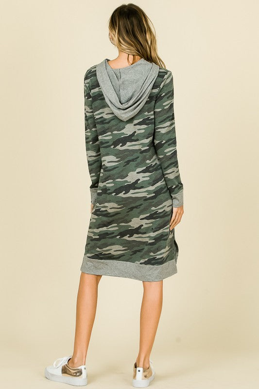 The Camille Camo Hooded Dress