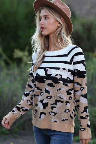 V Shape Color Block and Leopard Sweater