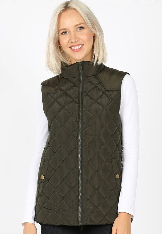 Quilted Vest With Zip Front in Olive