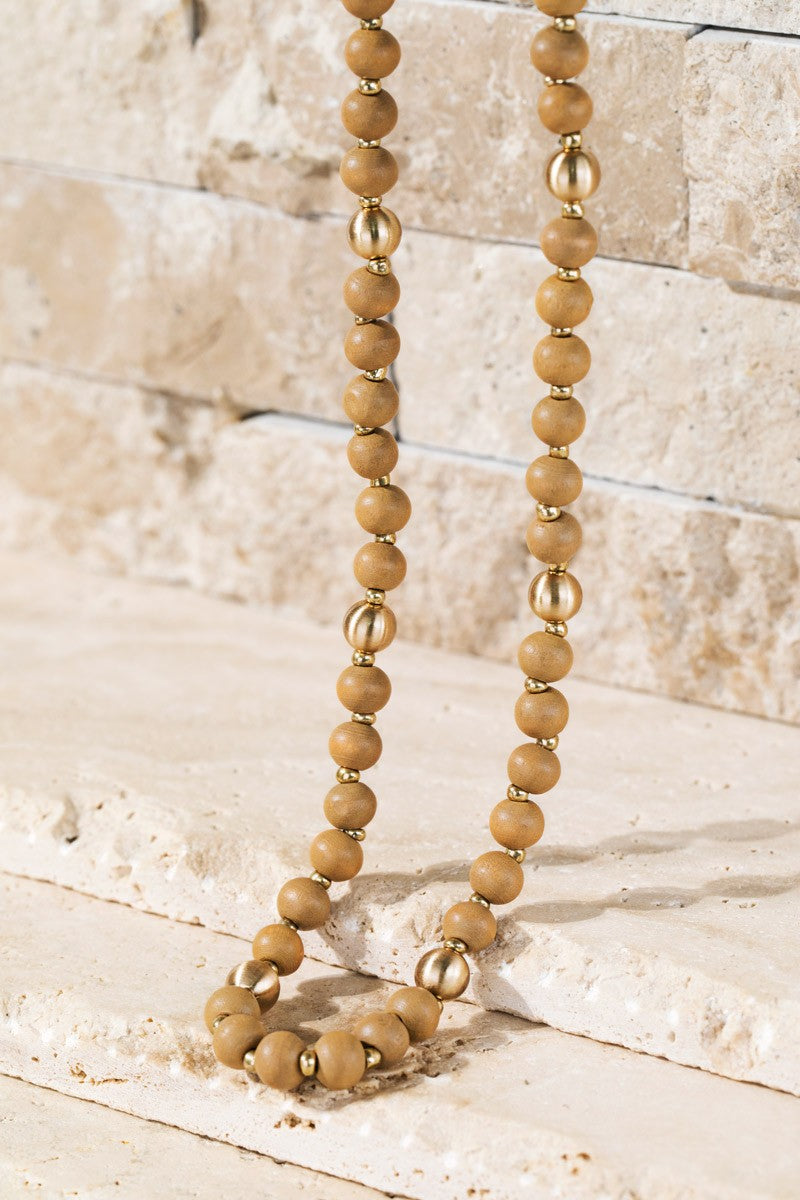 Wood and Metal Bead Long Necklace in Multiple Color Options