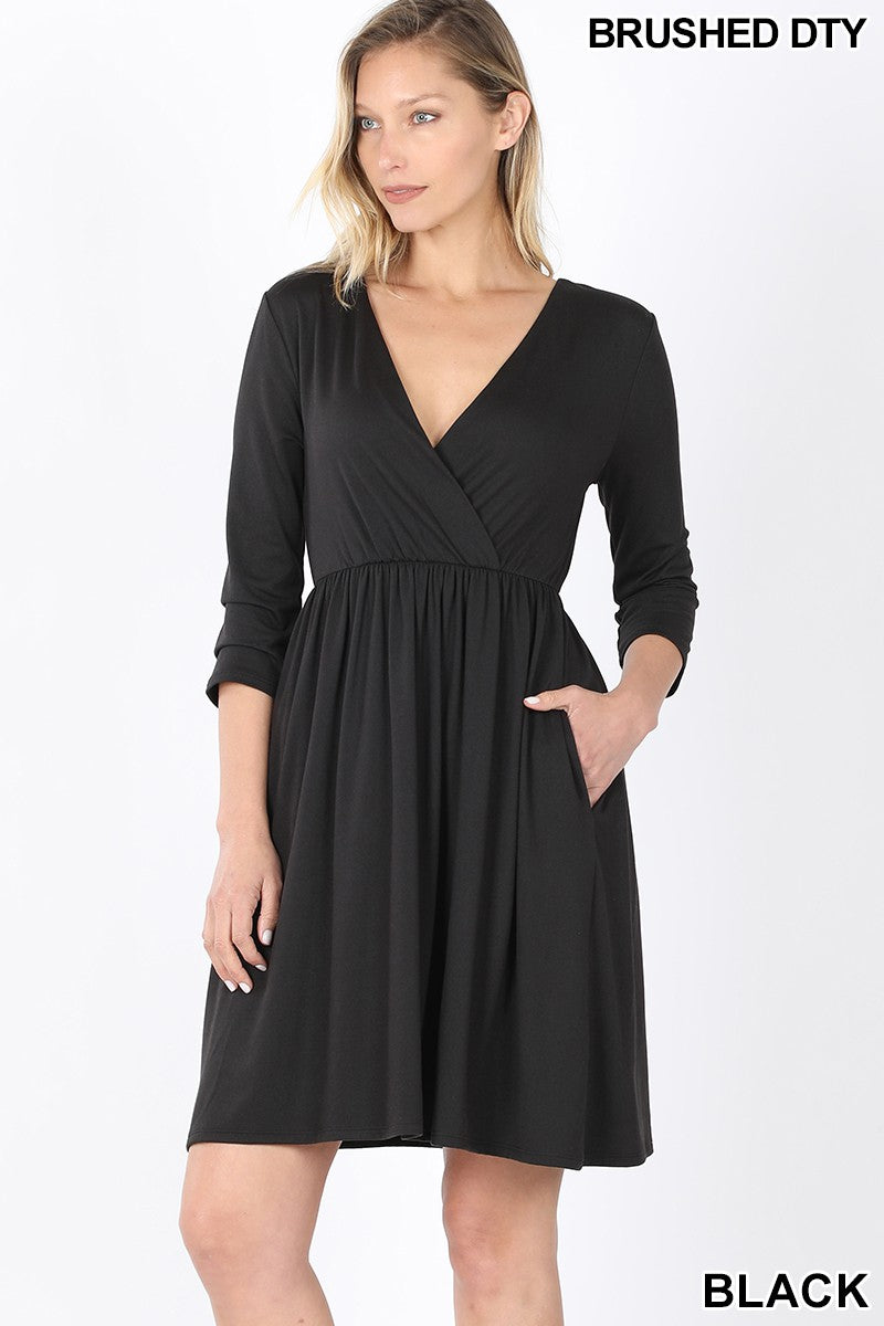Soft as Butter Surplice Dress