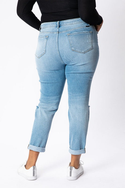 Plus Size Mid Rise Button Fly Mom Jeans