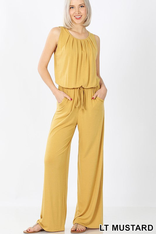 Sleeveless Pocketed Jumpsuit in Light Mustard