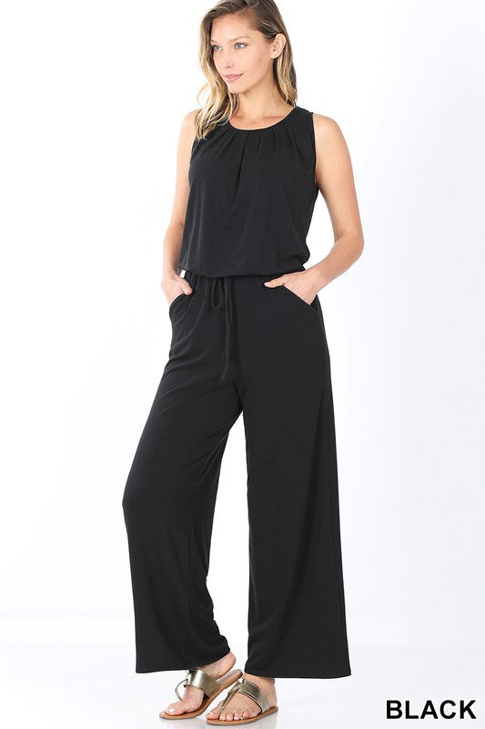 Sleeveless Pocketed Jumpsuit in Black