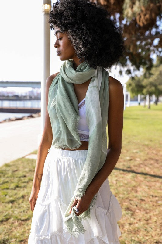 Tie Dye Lightweight Scarf in Sage