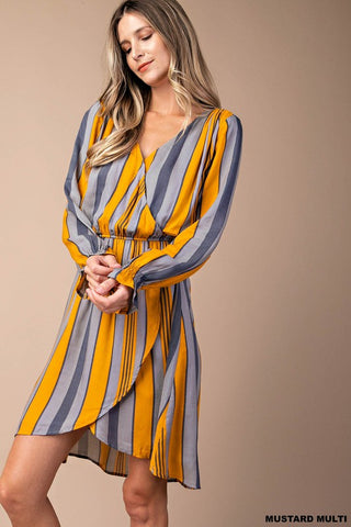 Striped Knit Twofer Dress