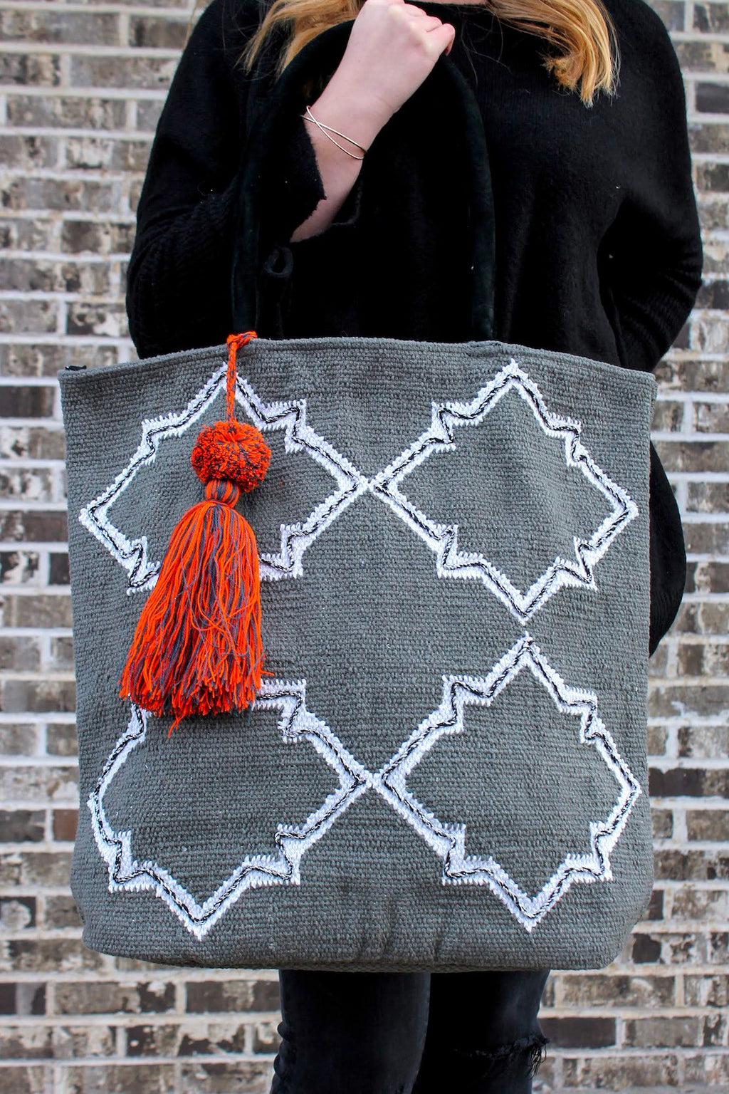 Boho Shoulder Bag With Orange Tassel