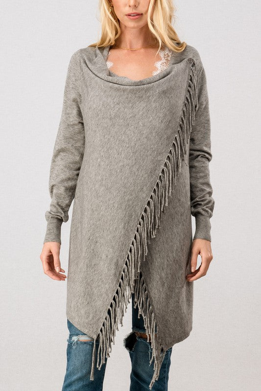 Fringe Open Front Draped Poncho Wrap Cardigan in Heather Grey
