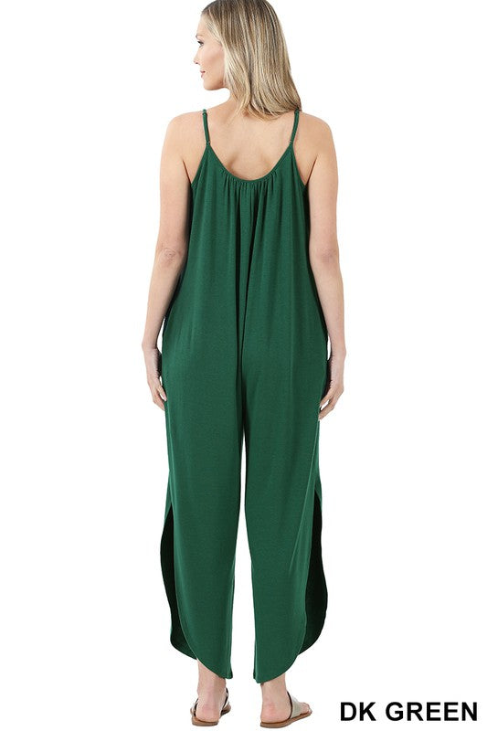 Strappy Jumpsuit With Pockets in Deep Green