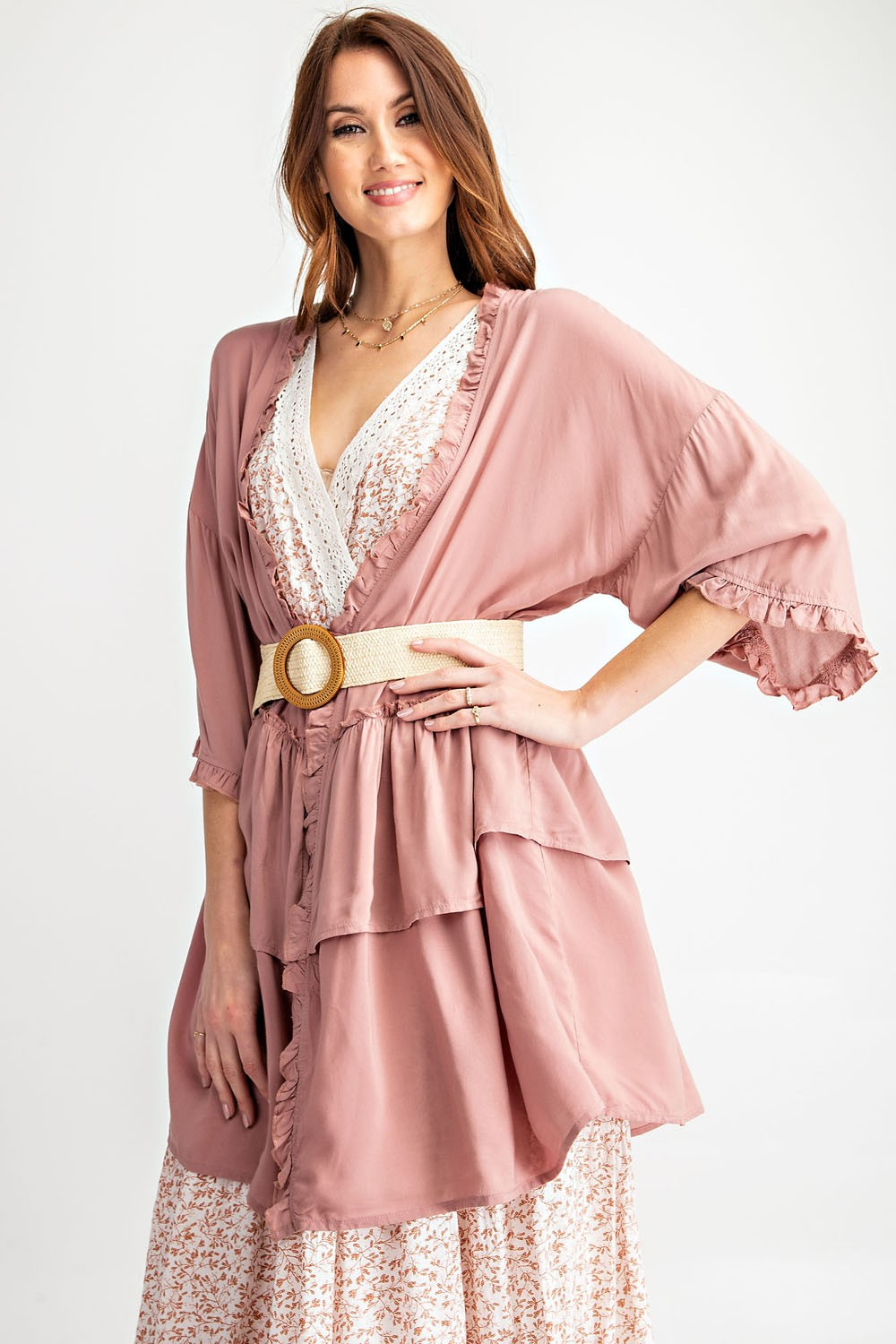 Ruffle Trimmed Lightweight Cardigan in Mauve