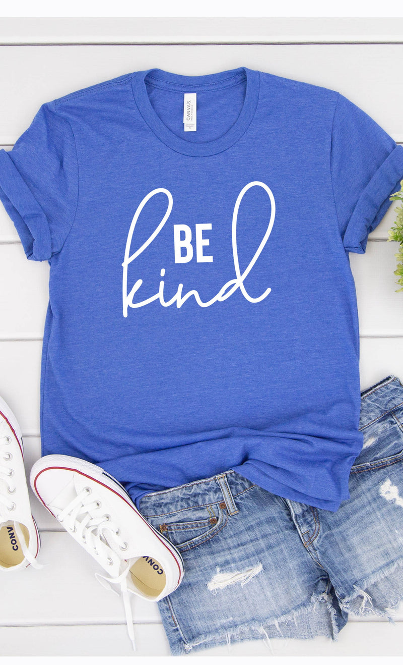 Be Kind Graphic Tee in Royal Blue