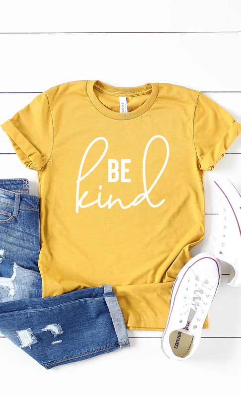 Be Kind Graphic Tee in Mustard