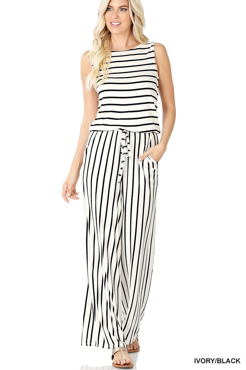Striped Sleeveless Jumpsuit With Pockets