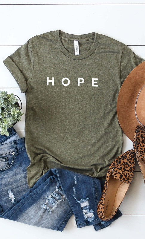 HOPE Graphic Tee in Heather Olive