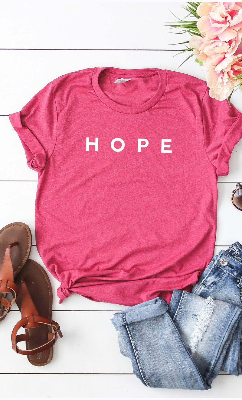 HOPE Graphic Tee in Heather Berry