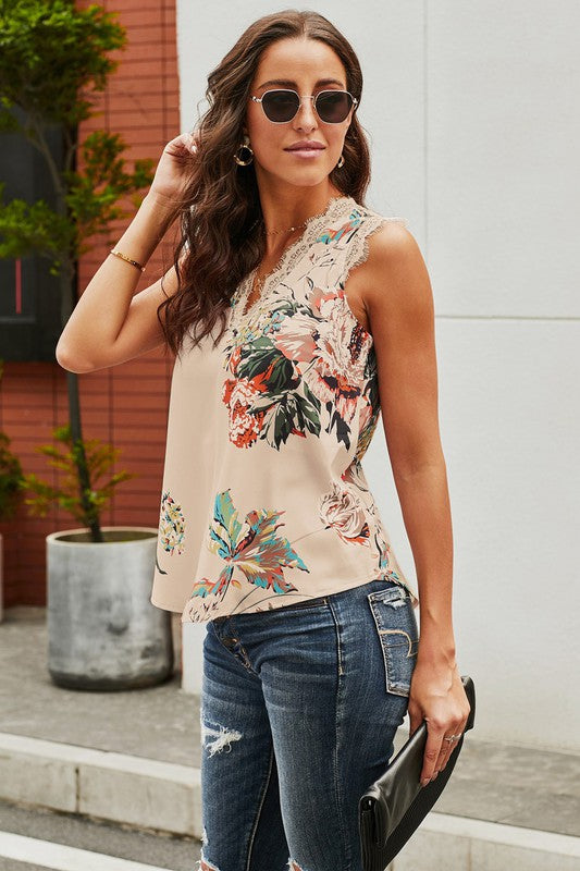 Lace Trim Floral Tank in Apricot