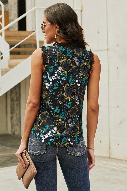 Lace Trim Floral Tank in Black