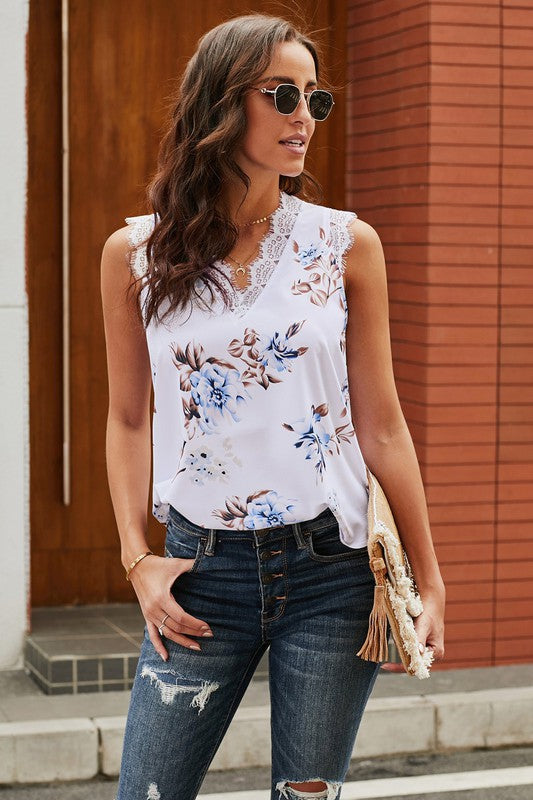 Lace Trim Floral Tank in White