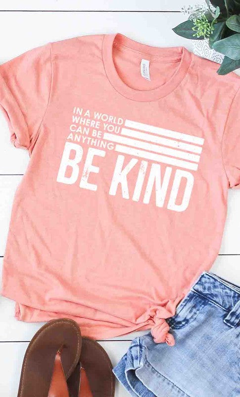 Retro Be Kind Graphic Tee in Heather Sunset