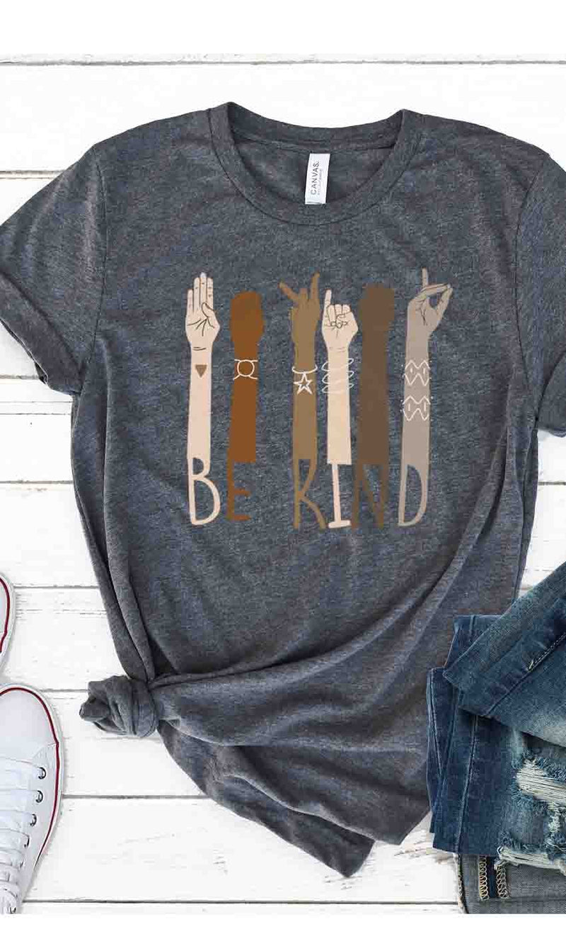 Be Kind Sign Language Graphic Tee in White or Charcoal