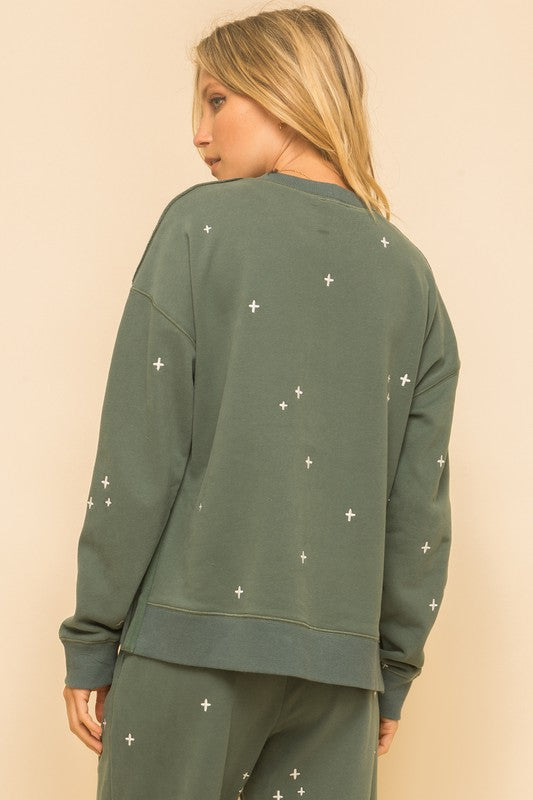 Vintage Teal Embroidered Sweatshirt