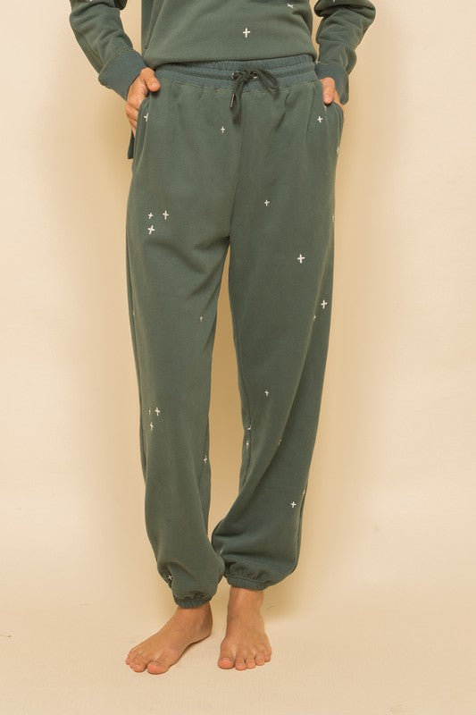 Vintage Teal Embroidered Joggers
