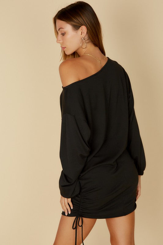 Off Shoulder French Terry Dress