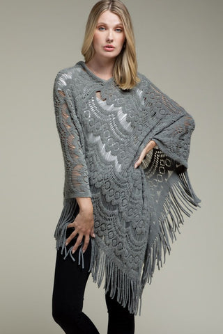 Norah Button Neck Fringe Poncho In Color Options