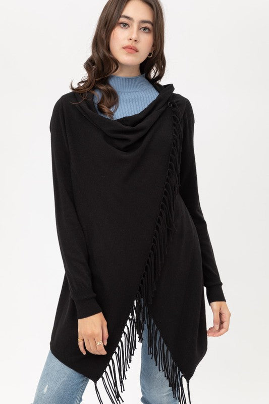 Fringe Open Front Draped Poncho Wrap Cardigan in Black
