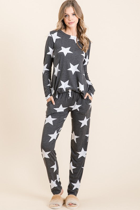 Cara Star Print Top and Pant Lounge Set