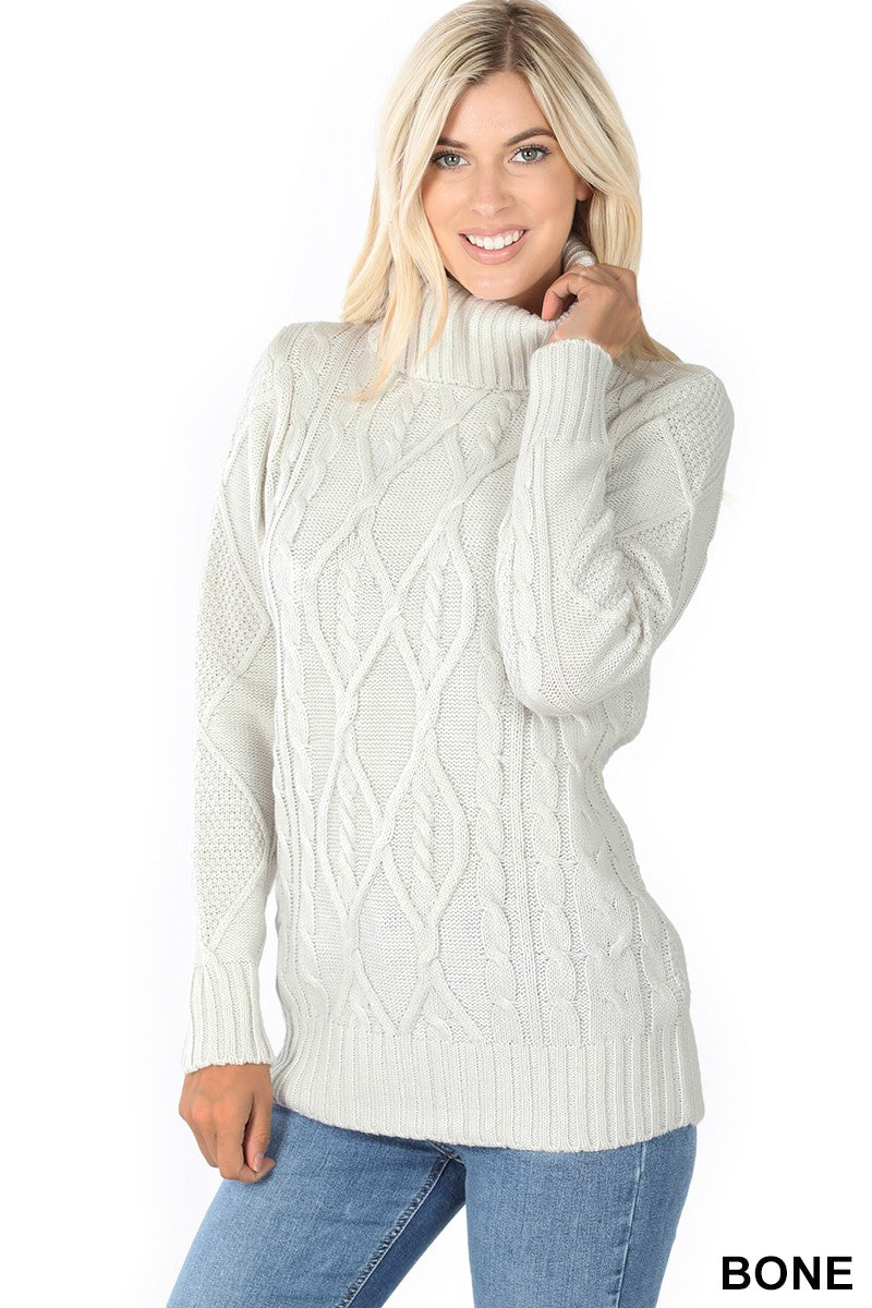 Carla Cable Knit Turtleneck Sweater