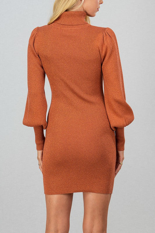 Metallic Thread Rib Knit Turtle Puff Dress in Terra Cotta
