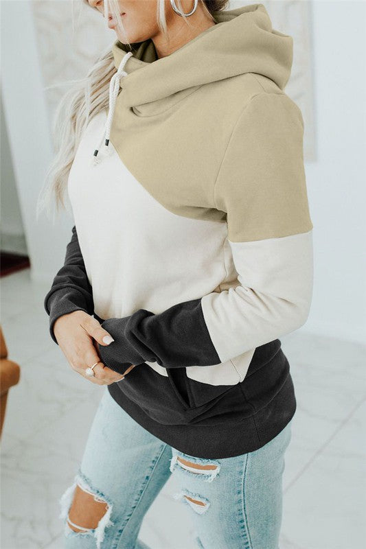 Colorblock Pocket Hoodie in Beige
